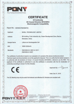 CE Certificate for 18650